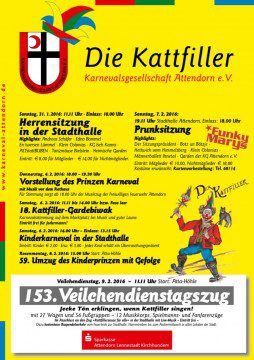 Karneval in Attendorn Plakat 2016