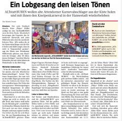 """Bericht Ausgabe WR/WP vom 14.02.2017 """"ALTstattBUBEN wollen den Kneipenkarneval wiederbeleben"""""""
