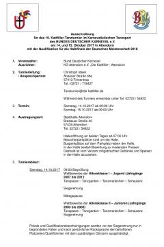 Ausschreibung 19. Kattfiller-Tanzturnier 2017 mit der Qualifikation für das Halbfinale der Deutschen Meisterschaft 2018